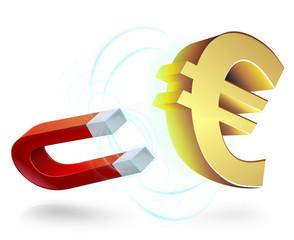 Euro attiré par un aimant