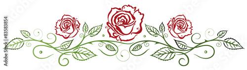 Naklejka Rote Rosen mit Blättern
