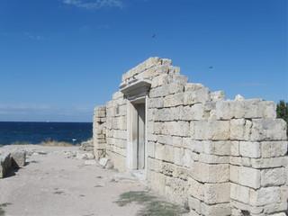 Chersonese, wall of Basilica 1935 (VI-X c.), Crimea.