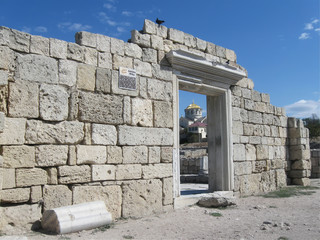 Chersonese, wall of Basilica 1935 (VI-X c.),  Crimea
