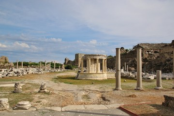 Ruins of ancient city in Side