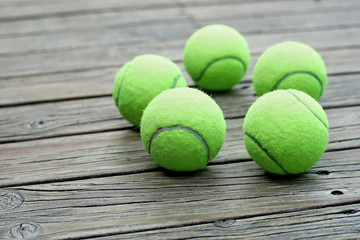 tennis ball  on wooden background