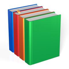 Four books educational textbooks blank bookshelf colorful