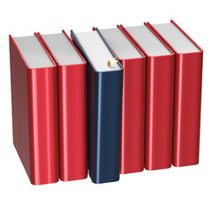 Blank red books row one selected black take answer icon