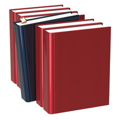Books row red blank one black selected need index