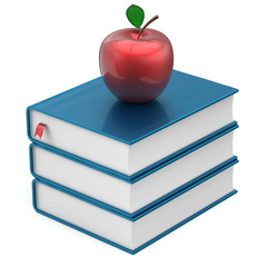 Books textbooks stack blue apple red education icon