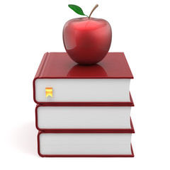 Books apple red index blank textbooks stack education icon