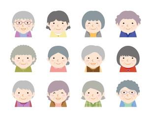 色んな髪型 おばあさん アイコン