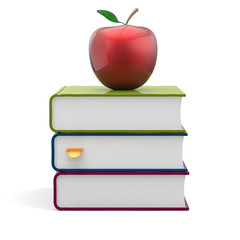 Books colorful blank stack red apple textbooks wisdom icon