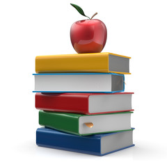 Red apple colorful books textbook education studying icon