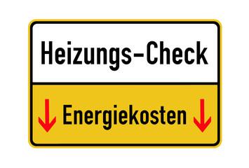 """Schild """"Heizungs-Check"""", freigestellt"""