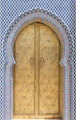 """Golden door on Royal Palace """"dar el Makhzen"""" in Fez, Morocco."""