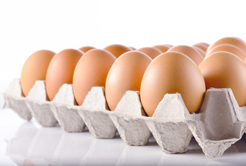 Eggs in the package on white background