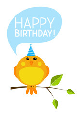 Cute bird with Birthday message