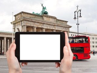 tourist photographs of red tourist bus in Berlin