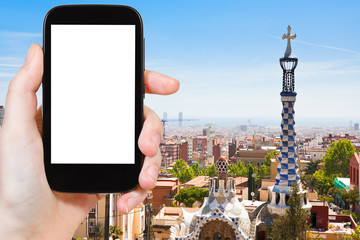 tourist photographs of skyline of Barcelona city
