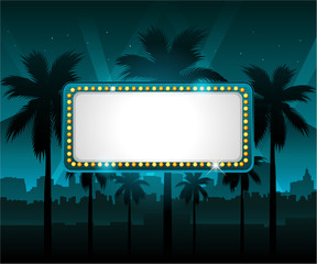 Casino banner with city lights in background
