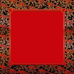 Fancy Decorative square Background - Red/Black/Gold, Red Insert