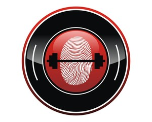 fingermark barbell logo image vector