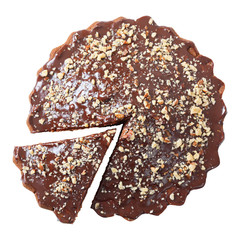 Top view of glazed and sprinkled pie with cut piece