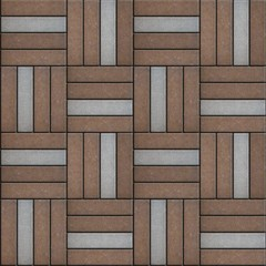 Brown and Gray Pavement Rectangle Laid in Form of Weaving.
