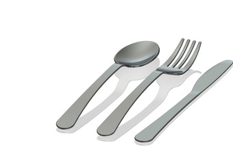 Stainless Steel spoon,knife and fork on white background