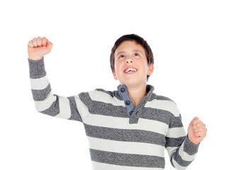 Winner boy raising their arms
