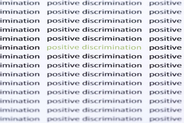Words 'positive discrimination' surrounded by similar text