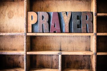 Prayer Concept Wooden Letterpress Theme