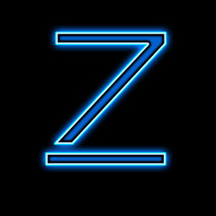 Neon letter Z blue