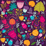 Fototapeta Vector floral background. Summer pattern with flowers