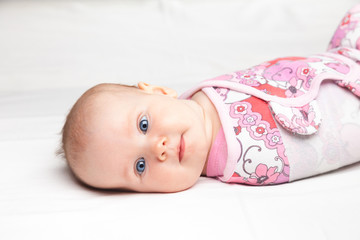 Swaddled infant