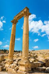 Capped pillars in Jerash Jordan site of an ancient Roman ruin