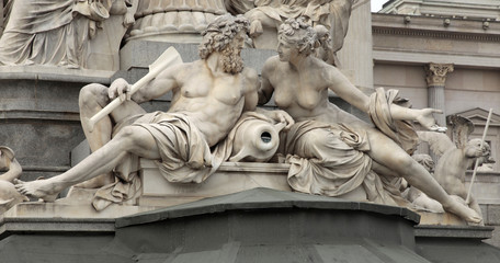 Detail of Pallas-Athene fountain in front of Austrian parliament