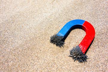 砂鉄が付いたU型マグネット