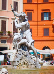 The Fountain of Neptune, at Piazza Navona, Rome