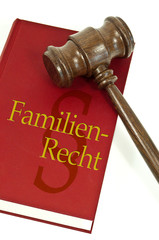 Richterhammer mit Buch und Familienrecht