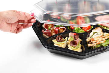 Hand opening buffet box catering