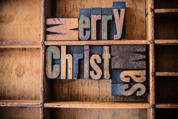Merry Christmas Concept Wooden Letterpress Theme