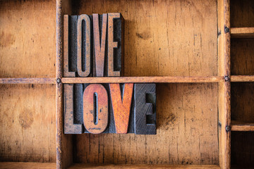 Love Concept Wooden Letterpress Theme