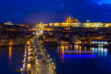 Charles Bridge, Prague Castle, Vltava river in Prague at night.