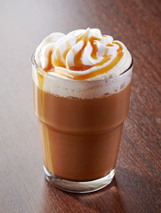 glass of caramel latte coffee