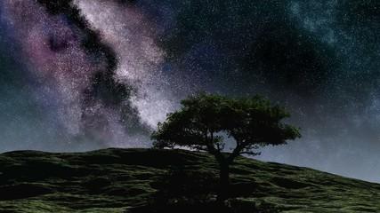 Time lapse purple night sky stars