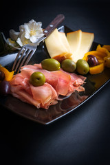 Sliced Prosciutto, Cheese and Olives