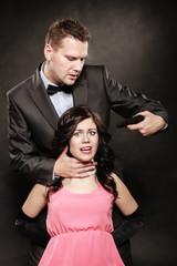 Scene of violence with firearm between men and women.