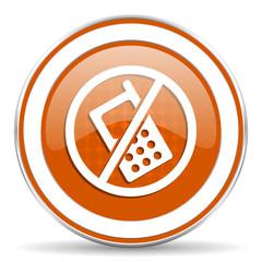 no phone orange icon no calls sign