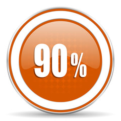90 percent orange icon sale sign