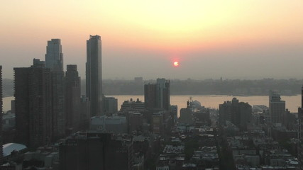 Time lapse of sunset over New York City and New Jersey