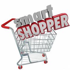 Smart Shopper Red 3d Words Shopping Cart Comparison Sale Buyer