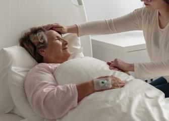 Ill grandma in hospital